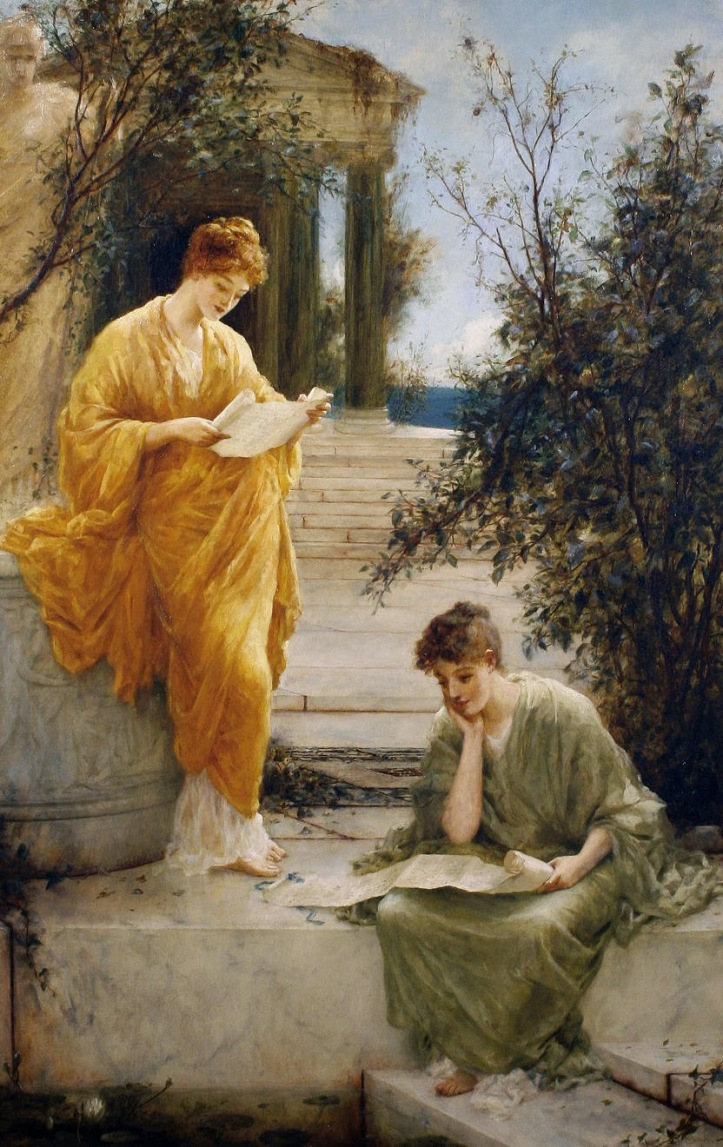 Henry Thomas Schaefer - Classical Women Reading by a Temple